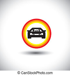 family & car icon with circles: parents and children on travel & outing - concept vector.