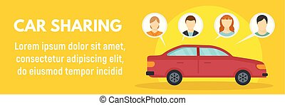Family car sharing concept banner, flat style - Family car...