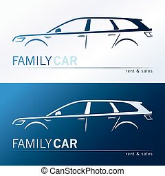 Family car silhouettes