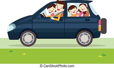 Traveling family. A young family with children go on a trip by car. People set father, mother and children sitting in Car.