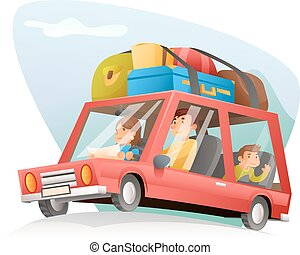 Family car travel cartoon design vector illustration