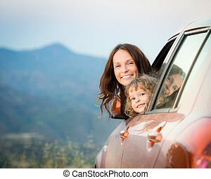 Family car trip - Happy family car trip on summer vacation. ...