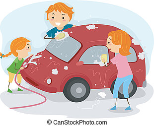 Family Car Wash - Illustration of a Family Washing Their Car