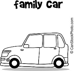 Family car with hand draw