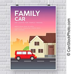 Family car with house home illustration concept on brick wall background