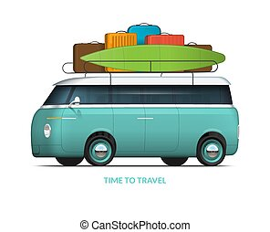 Family car with roof rack packed for the trip. Van in with surfboard