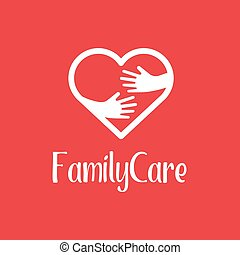 Family Care logo design template. Icon of kindness and charity, hands and heart. Heart hug