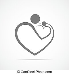 Family care symbol in the heart shape. Vector illustration....