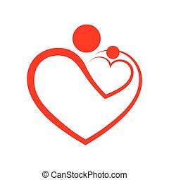 Family care symbol in the heart shape. Vector illustration. ...