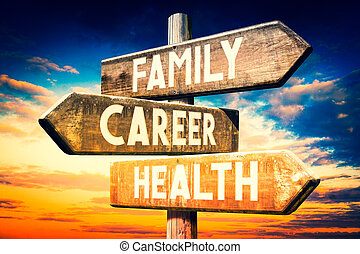 Family, career, health - wooden signpost, roadsign with three arrows