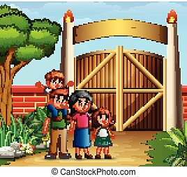 Family cartoon in the entrance gates