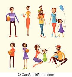 Family Cartoon Set - Family and children cartoon set with...