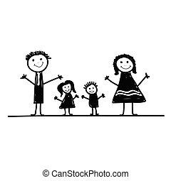 family cartoon vector in black