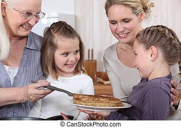 Family celebrating Chandeleur