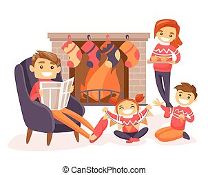 Family celebrating Christmas by the fireplace.