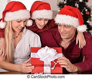 Family celebrating New Year