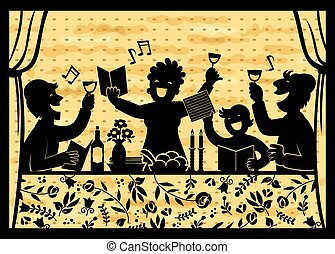 family celebrating passover - silhouette of a family ...