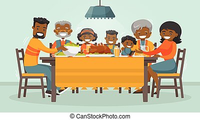 Family celebrating Thanksgiving Holiday card.