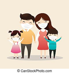 Family Character. - Family in medical masks. Family is ...
