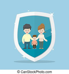 Family Character Inside The Insurance Shield