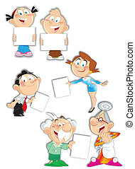 The illustration shows the different situations involving family members older and younger generations. Various emotions, characters, poses. Are isolated on a white background. Performed on separate layers, in a cartoon style.