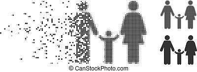 Family Child Decomposed Pixel Halftone Icon