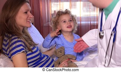 family child doctor handshake little patient girl and listen with stethoscope