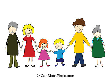 Family,  child´s  drawing style
