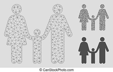 Family Child Vector Mesh Network Model and Triangle Mosaic Icon