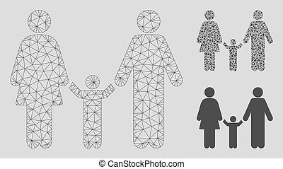 Family Child Vector Mesh Wire Frame Model and Triangle Mosaic Icon