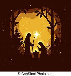 family., christ., scène, nativité, naissance, papier, saint, illustrations., art