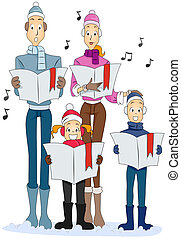 Family Christmas Carol with Clipping Path