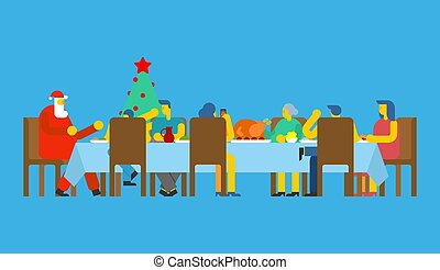 Family Christmas dinner and Santa. Big table. Red caps. holiday lunch new year. Father and mother. Grandmother and grandfather. Relatives feast