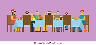 Family Christmas dinner. Big table. Red caps Santa. holiday lunch new year. Father and mother. Grandmother and grandfather. Relatives feast