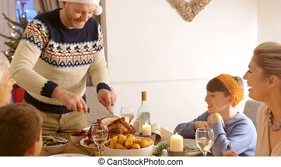 Family Christmas Dinner - Family are talking at christmas...