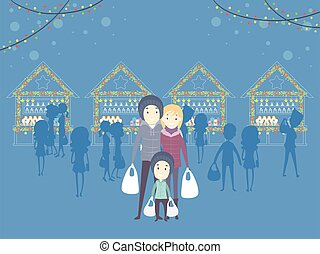 Family Christmas Market Illustration