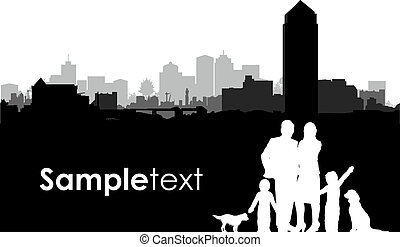 family cityscape background - family silhouettes on a...