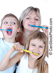 family cleaning teeth