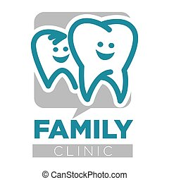 Family clinic dentist services teeth isolated icon