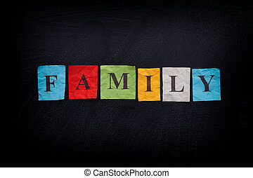 Colorful paper notes with the word Family