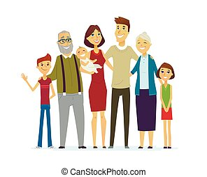 Family - coloured modern flat illustrative composition. -...