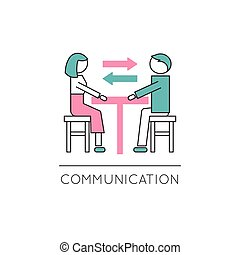 Family communication line icon