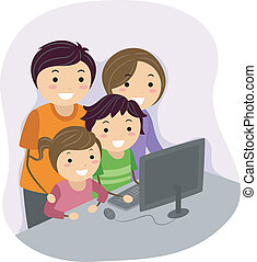 Family Computer - Illustration of a Family Huddled Together...
