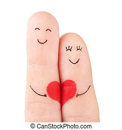 family concept - a man and a woman hold on the red heart, painted at fingers and isolated on white background