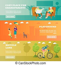 Family concept banner. Seniors, mother spend time with kid, rider on bicycle in park. Vector illustration flat style design