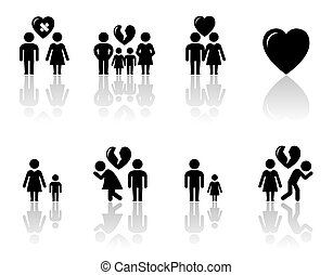 family concept icons with reflection