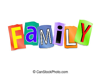 Family concept. - Illustration depicting cutout printed...