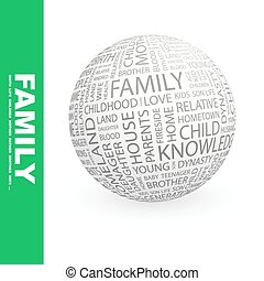 FAMILY. Concept illustration. Graphic tag collection....
