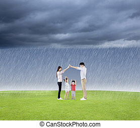 family concept protect the child from the rain