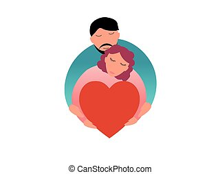Family concept vector illustration - Love and passion for a couple with heart